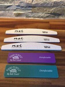 3 x NSI Dura Files &  2 x Turtle File Set   for Gel / Acrylic Nails Buffer