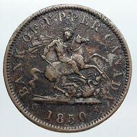 1856 UPPER CANADA Antique UK Queen Victoria Time PENNY BANK TOKEN Coin i90545
