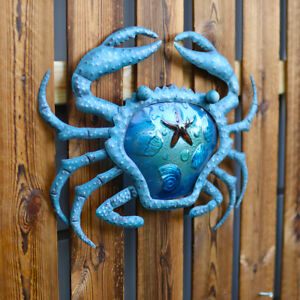Metal & Glass Crab Wall Decor hanging sculpture for patio, porch, room