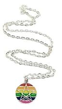 """Pagan Pride Rainbow Gay LGBTQ Pentacle Enameled Pendant 18"""" Chain Necklace"""