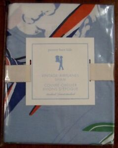 Pottery Barn Kids Vintage Airplanes Standard Sham NWT Blue Pillow Cover Biplanes