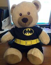 Build A Bear Batman Teddy DC Comics Plush Black Yellow Logo Soft Toy BABW
