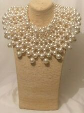 Statement Chunky Long Big Large Oversized Bead Beaded Faux Pearl Necklace