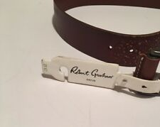 Robert Graham Brown 100% Leather Belt Size 32 New with Tag Paisley Design NEW