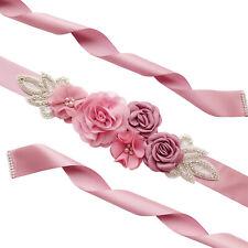 Elegant Waist Pearl Rhinestone Wedding Dress Bands Simulated Flower Women Belt
