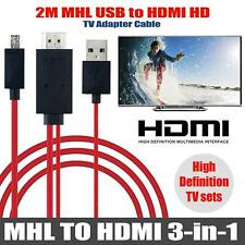 MHL 11pin Micro USB to HDMI 1080P HD TV Cable for Android Phones Samsung 2M