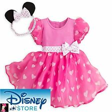 Disney Store NEW Minnie Mouse Costume Bodysuit Bow Headband with Ears Pink 6/9 M