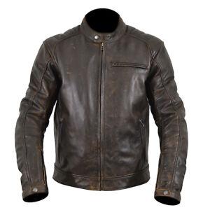 ARMR Moto Hiro Classic Retro Style Leather Motorcycle Motorbike Jacket - Brown