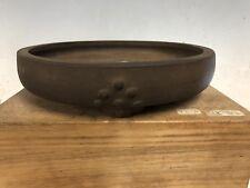 Handmade Japanese Made Older Bonsai Tree Pot Drum Style 9 5/8� Darker Clay