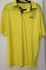 New Under Armour Heat Gear Polo Golf Shirt Loose Fit Bright Yellow Mens Xl