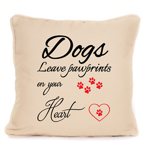 Personalised Dogs Leave Paw Prints On Your Heart Cushion For Dog Lovers Owner