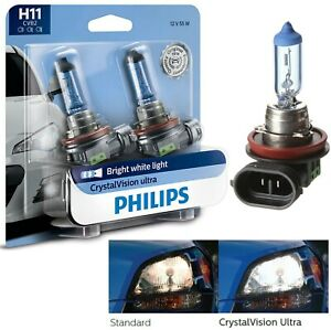 Philips Crystal Vision Ultra H11 55W Two Bulbs Head Light High Beam Replacement