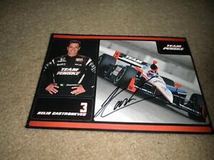AUTOGRAPHED SIGNED HELIO CASTRONEVES #3 TEAM PENSKE INDY CAR POSTCARD