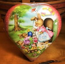 """Vintage Heart Shaped Box """" Easter Morning """" Handmade in Germany Mint/Sealed"""