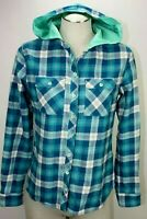 Eddie Bauer Womens Favorite Flannel Hoodie Shirt Jacket Small S Blue Plaid Top