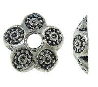 40 Perlenkappen Perlkappen 10mm Tibet Silber Spacer Schmuck Zwischenperlen M239