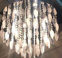 Art deco Chrome Flush Silver Leaves Crystal Droplets Ceiling Light NEW 5 Lights