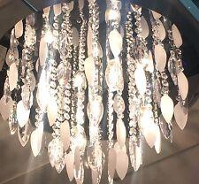 SCARICO Cromato Art Deco Argento FOGLIE GOCCE di Cristallo Luce Da Soffitto Nuovo 5 Luci