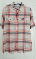 BHS mens short sleeve coral/blue  white check shirt.Size Large.