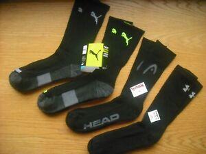 Mens NWT PUMA Under Armour Crew Socks 4prs Black w/Gray Green Cushion Sz:L(8-12)