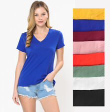 Women's Elastic Basic Summer Lightweight Tee Shirt Cap Sleeve V Neck Top S-3XL