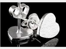 925 Sterling Silver 5mm plain tiny Heart post stud earrings gift Box I6