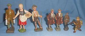 7 Vintage Prewar Lineol & Elastolin Figure-Germany-Composition-Soldiers & More
