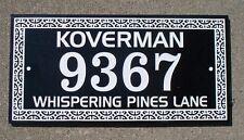 Address plaque custom engraved black granite
