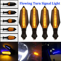 4X Motorcycle 12 LED Turn Signal Indicators Flowing Water Light Amber Blinker