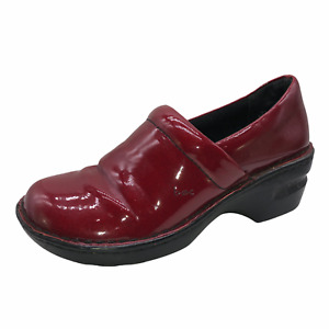 BOC Born Concept Womens 6.5 Shiny Red Faux Leather Clogs Slip On Comfort Shoes