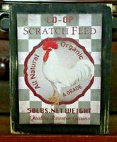 Chicken Scratch Wooden Sign Block Shelf Sitter Tuck Farmhouse Primitive 3.5X4.5