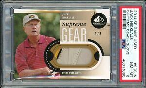⛳️ 2014 SP Game Used Golf Supreme Gear 1/3 JACK NICKLAUS glove PSA 8