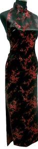 UK Backless Black & Burgundy Cherry Blossom Chinese Long Evening Dress Qipao