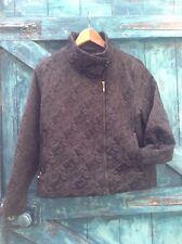 womens jacket size 12 black satin quilted biker contemporary designer Minuet vgc