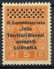 Lubiana 1941 Sass. 9o Nuovo ** 100% C rotta ivile Segnatasse