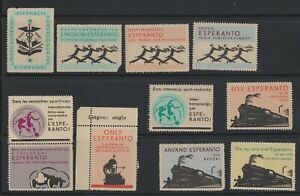 Esperanto Labels Sports - Soccer - Music - Gramophone - Trains- Olympics 1932