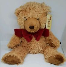 KEEL TOYS  TEDDY BEAR SOFT TOY COMFORTER TAN RED BOW plush tag