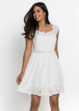 BodyFlirt Broderie Trim Ivory Summer Dress Size 16 NEW