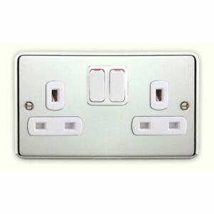 Deta Decorative Polished Chrome Switches & Sockets White Inserts -Matching Range