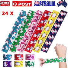 24pcs Cartoon Unicorn Slap Snap Wrap Wristband Flexible Band Bracelet Jewelry AU