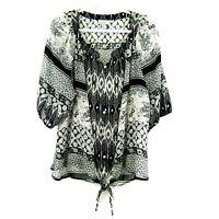 Dress Barn Woman Sheer Black White Floral Button Front Tie Blouse Plus Size 2X