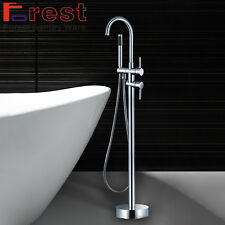 ROUND STYLE FREE STANDING CHROME BRASS BATH MIXER FILLER SHOWER TAPS FAUCET