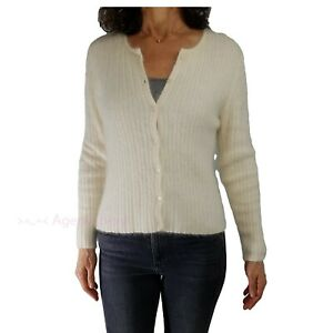 Angora Vintage XHILARATION sz S Ivory Fuzzy Ribbed Knit Sweater Cardigan Holiday