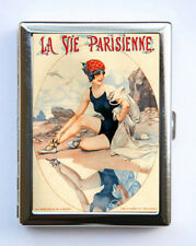 Cigarette Case id case Wallet La Vie Parisienne Flapper Beach Art Deco