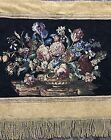 """Antique French Wall Hanging Flower Tapestry 37"""" By 44"""""""