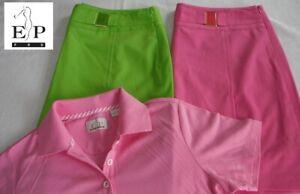 EP Pro GOLF Size 12 Pink & Green Enamel Buckle Skorts w Size Lg Pink Polo EUC!
