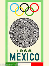 1968 Olympic Games Mexico Mexican Latin America Travel Advertisement Art Poster
