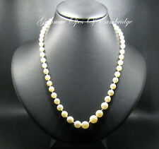 "Knotted Cultured Pearl Graduated Necklace with 10ct White Gold Clasp 22"" 15.3g"