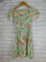 Alice McCall dress fit & flare sz 8 green peach black floral print