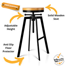 Industrial Style Bar Stool Adjust Height Swivel Wooden Seat Kitchen Office NEW